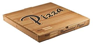 Pizzakartong  Wellpapp 33x33x3,5cm brun med tryckt text