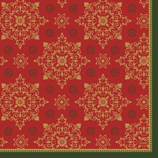 Servett 3-lag 33x33cm Xmas Deco red jul