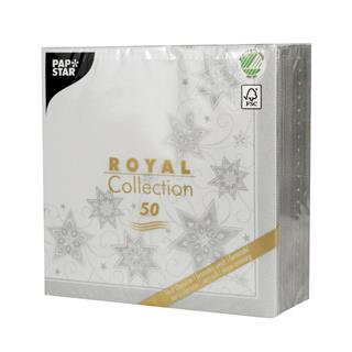 Servett Royal Collection 1/4-vikt 40x40cm  vit Just Stars jul